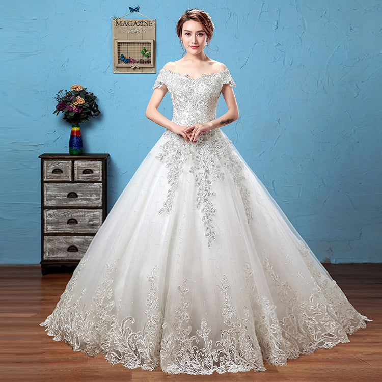 Summer-style European and American white tail wedding dress P3363Buy mate
