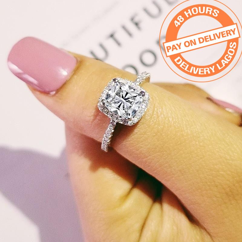 original solid real arrival 925 Sterling Silver Ring Finger luxury CZ Stone for Women Wedding Engagement Jewelry R466AS