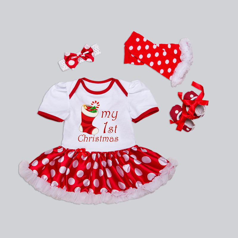 children's clothing cotton short-sleeved  dresses suit four sets