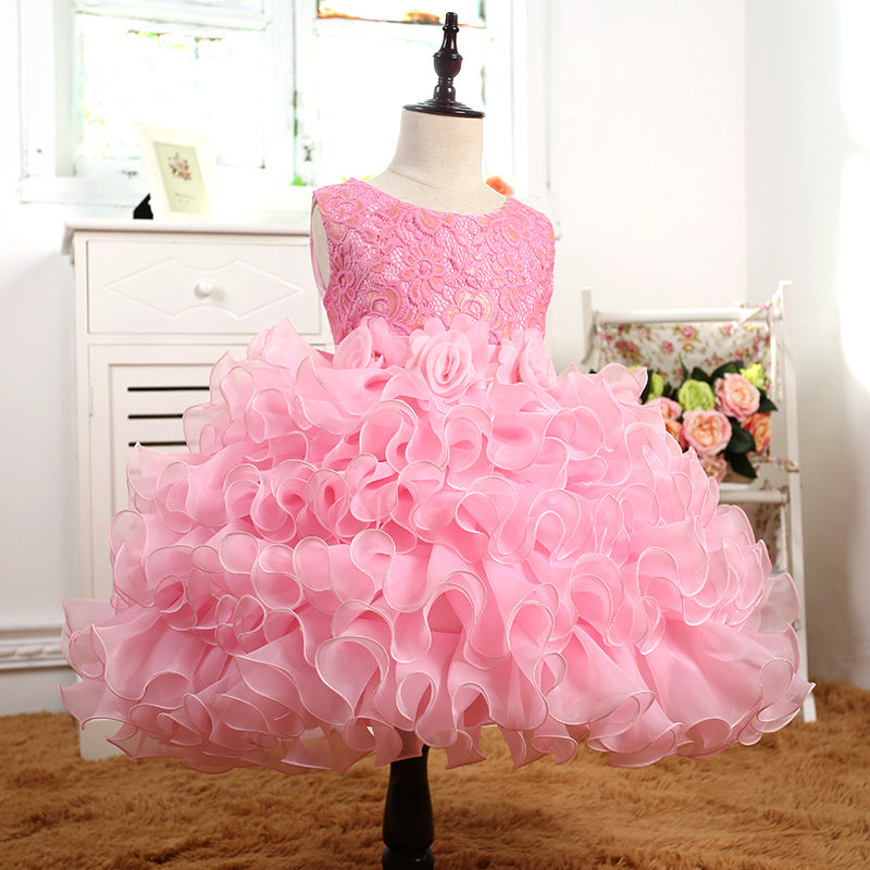 Children's  Skirt, Flower  Princess Skirt, Girl's Dance Performance Dresses p2008pink / 150cmBuy mate
