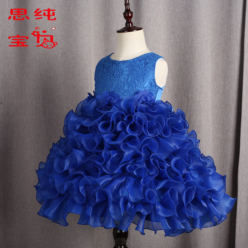 Children's  Skirt, Flower  Princess Skirt, Girl's Dance Performance Dresses p2008blue / 150cmBuy mate