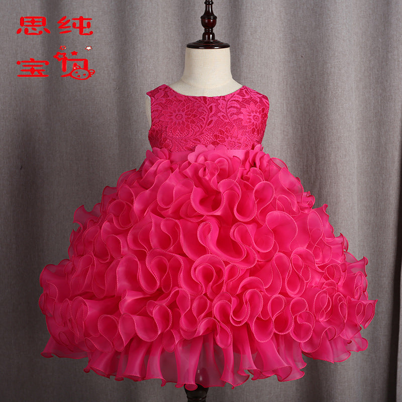 Children's  Skirt, Flower  Princess Skirt, Girl's Dance Performance Dresses p2008red / 150cmBuy mate