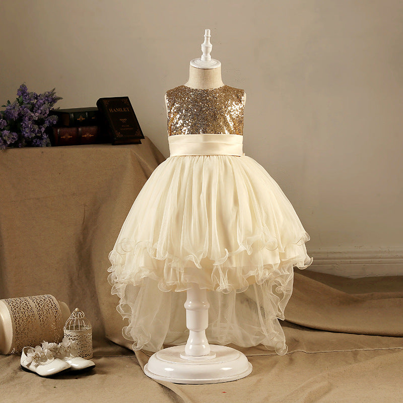 Children's Dress Girl's Multicolored Tail-like Dress Korean Sequined Butterfly-knotted Children's Dresses p0028