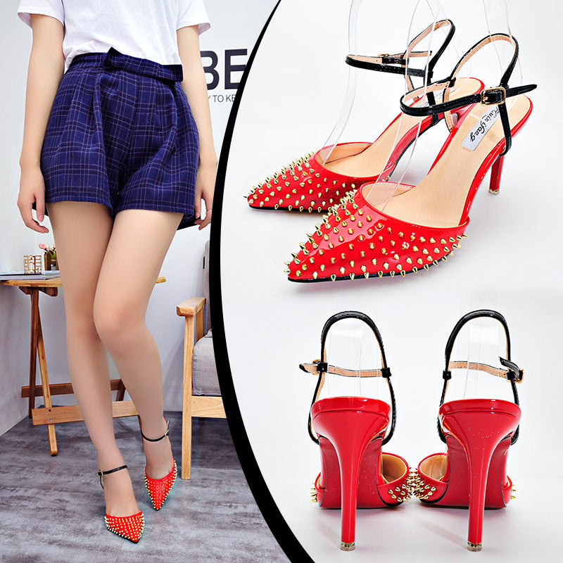 2018 rivet pointed sandals shallow mouth European and American elegant high heels shoes p0014Buy mate