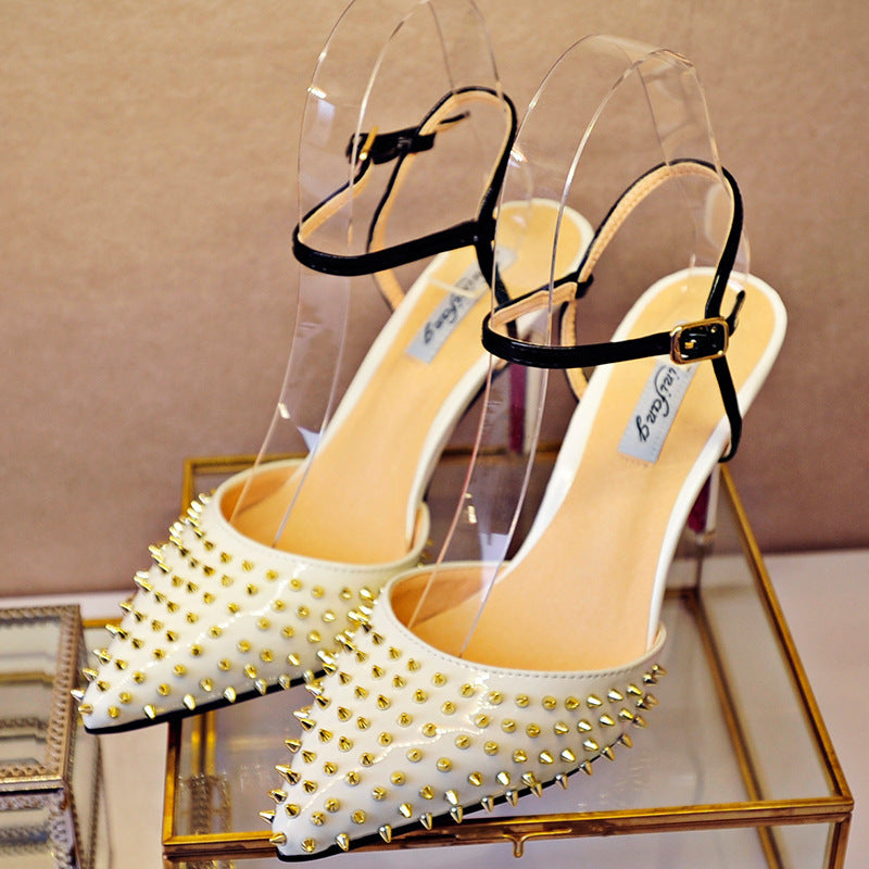 2018 rivet pointed sandals shallow mouth European and American elegant high heels shoes p0014White / 33Buy mate