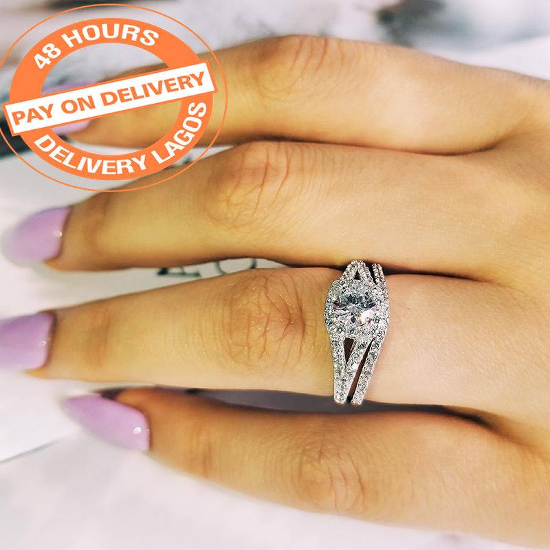 Pair Luxury Genuine 925 Sterling Silver rings for women wedding engagement jewelry R236SBuy mate