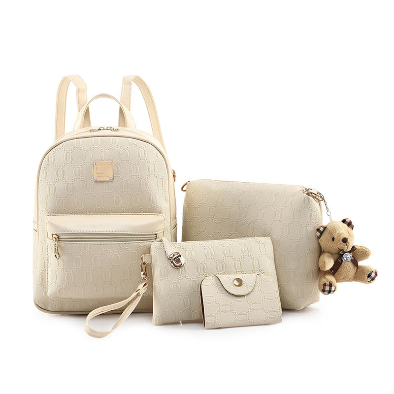 Women's bag new fashion casual tide women's double shoulder pack large capacity with four piece PU skin women's bag p5049