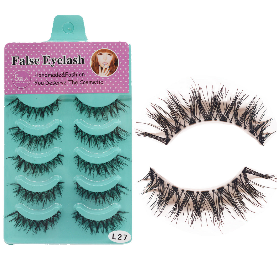 Five pairs of false eyelashes with disorderly cross-over and naked makeup p6035