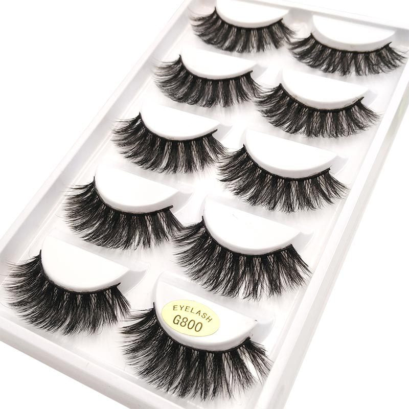 Mink hair 3D eyelash natural thick false eyelash 5 pairs p3979