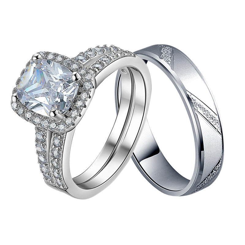 r4211+r4343 -  TWLLE Jewelry-- Affordable Sterling Silver Engagament & Wedding Ring - Affordable Sterling Silver Wedding Engagement Ring in Nigeria