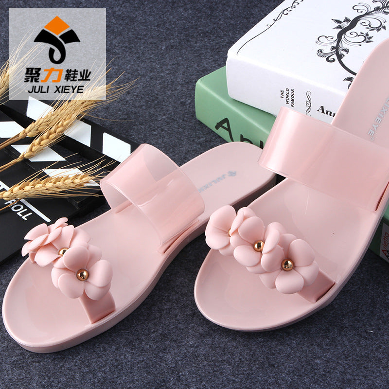 Flower jelly shoes Beach shoes Slippers female summer casual shoes p4109