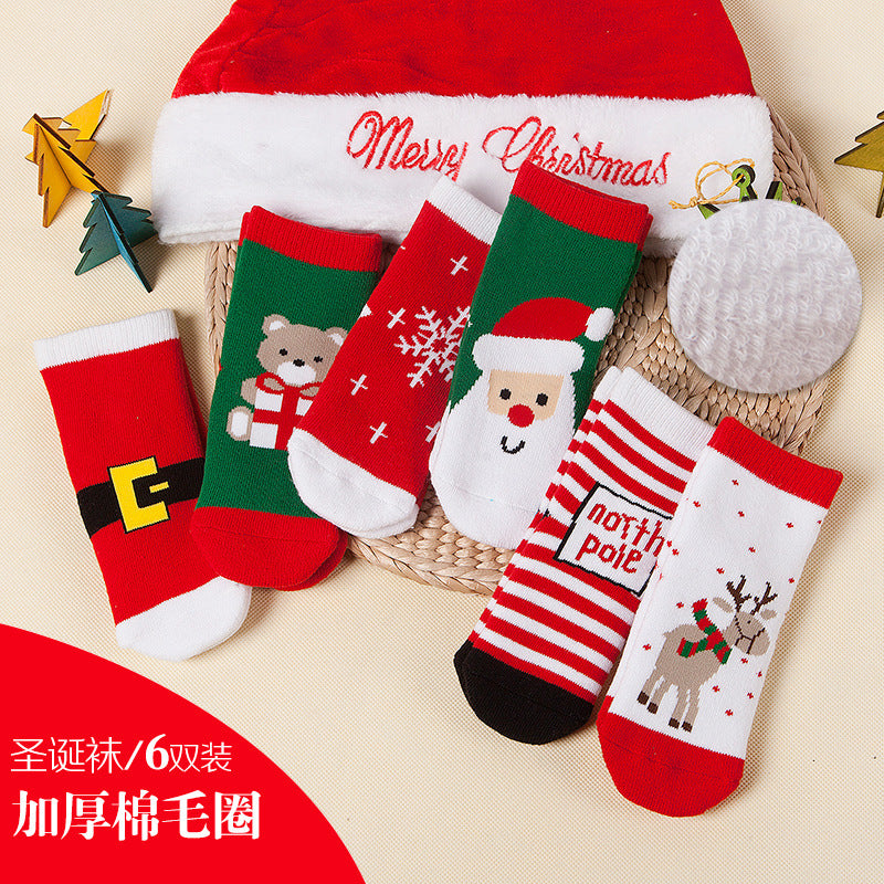 Autumn and winter wool ring thickened baby socks Autumn and winter children socks Christmas socks gift socks P0037Buy mate