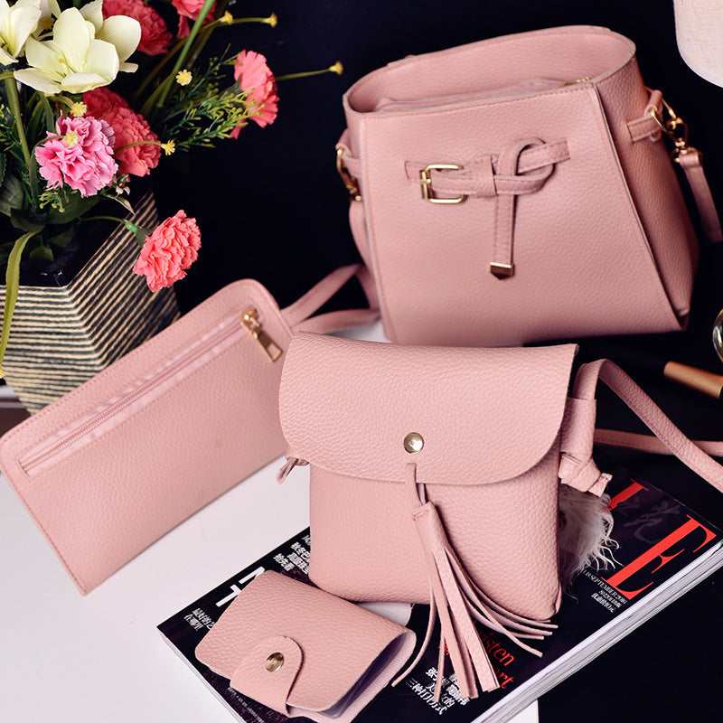 4 pcs Lash the new package 4 han edition bucket tassel women's single shoulder bag his mobile phone p5030