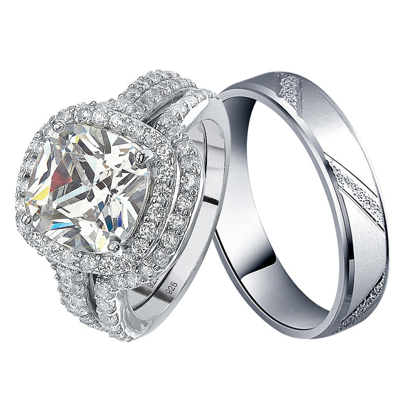 r4308+r4343 -  TWLLE Jewelry-- Affordable Sterling Silver Engagament & Wedding Ring - Affordable Sterling Silver Wedding Engagement Ring in Nigeria