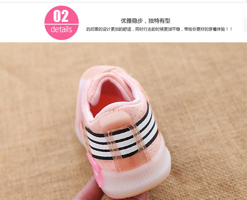 Fall 2018 boys sports shoes casual shoes light net cloth baby/breathable LED flash female children's shoes p5024