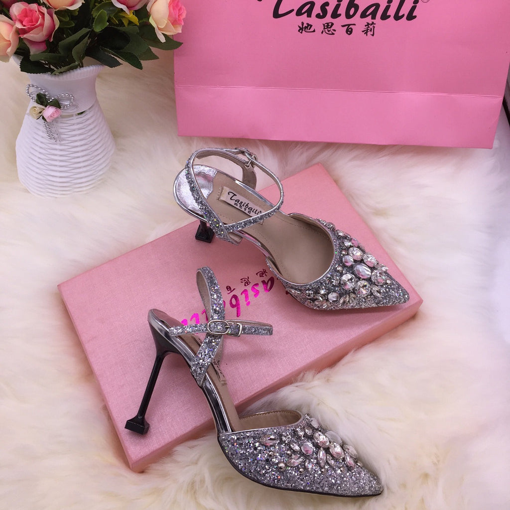 18 Summer crystal sequins pointed high-heeled laces buttoned back empty sandals fine-heeled crystal shoes silver wedding p0017white / 34Buy mate