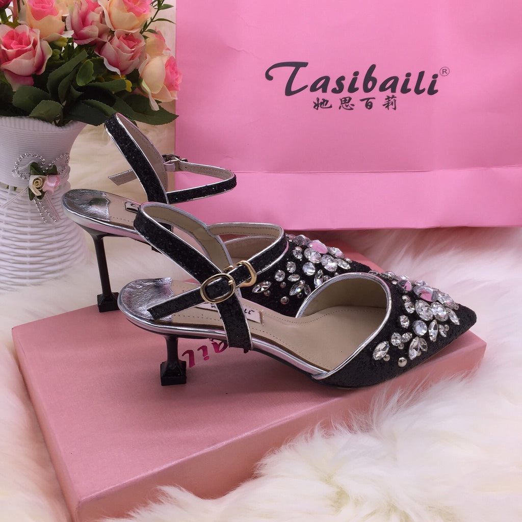 18 Summer crystal sequins pointed high-heeled laces buttoned back empty sandals fine-heeled crystal shoes silver wedding p0017black / 34Buy mate