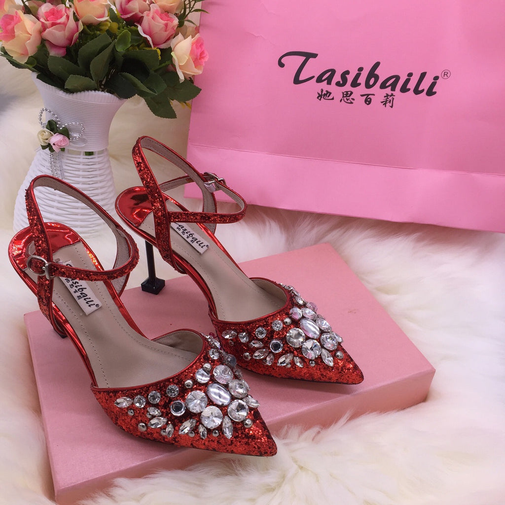 18 Summer crystal sequins pointed high-heeled laces buttoned back empty sandals fine-heeled crystal shoes silver wedding p0017red / 34Buy mate