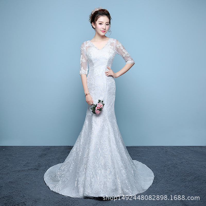 receives waist fish tail wedding dress sleeves slim and slim fish
