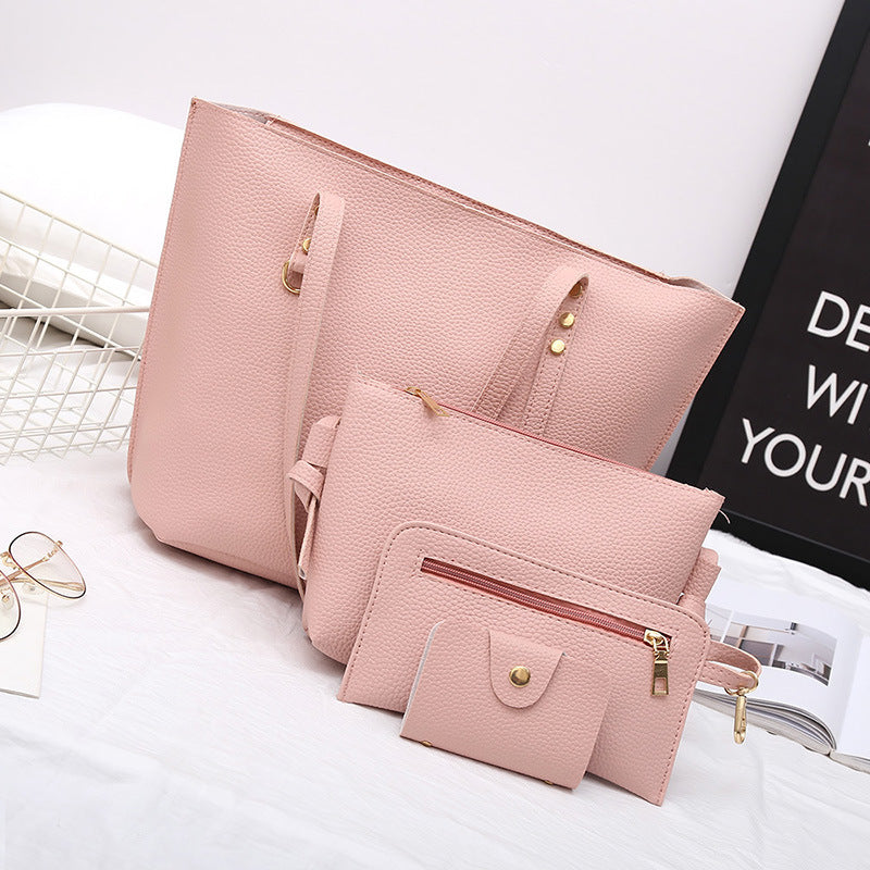 New Litchi Trendy Women's Bag Four-piece Set p5037PinkBuy mate