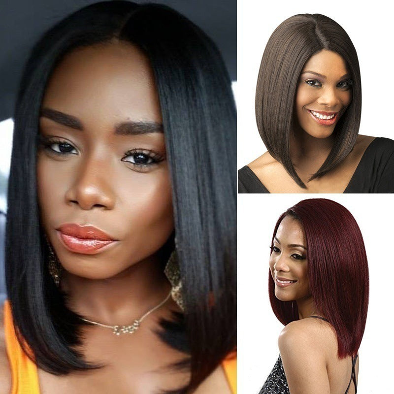 Synthetic Ms Bob wig wig black short straight hair p3346Buy mate