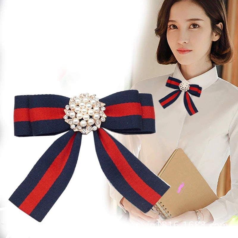 South Korea East Gate New striped Big Pearl Water drill Bowknot brooch p0024Buy mate