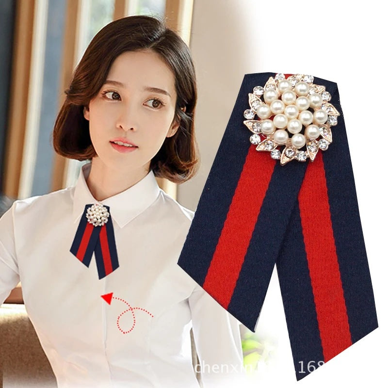 South Korea East Gate New striped Big Pearl Water drill Bowknot brooch p0024