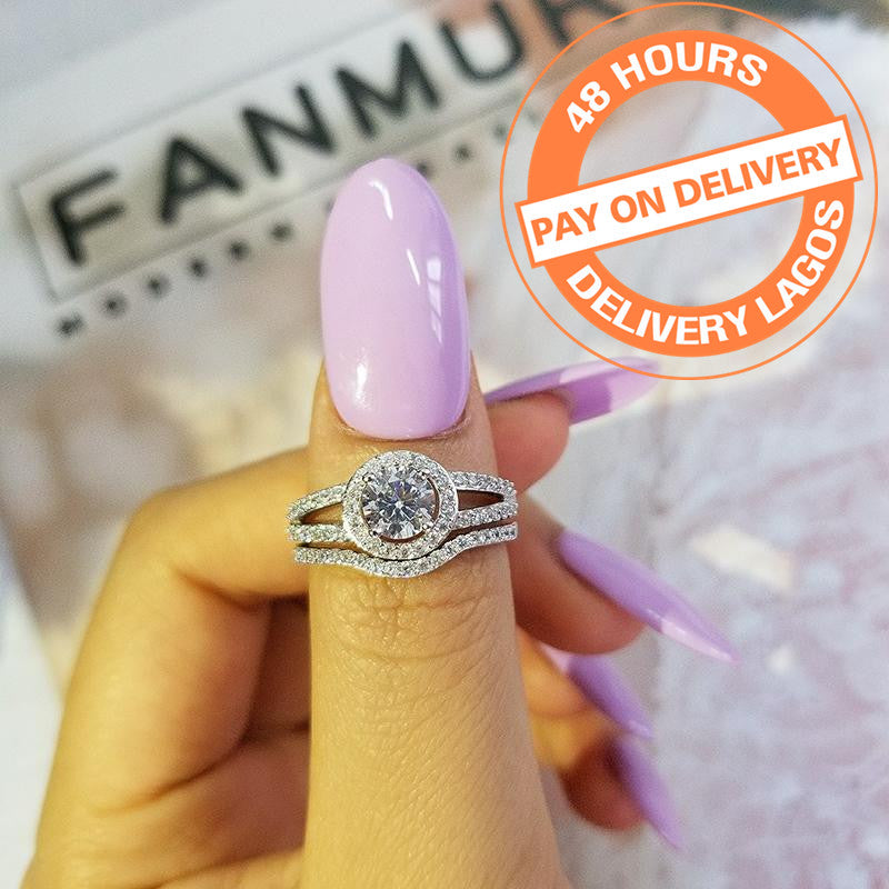 925 Sterling Silver rings set band for women wedding engagement BRIDAL jewelry R235SBuy mate