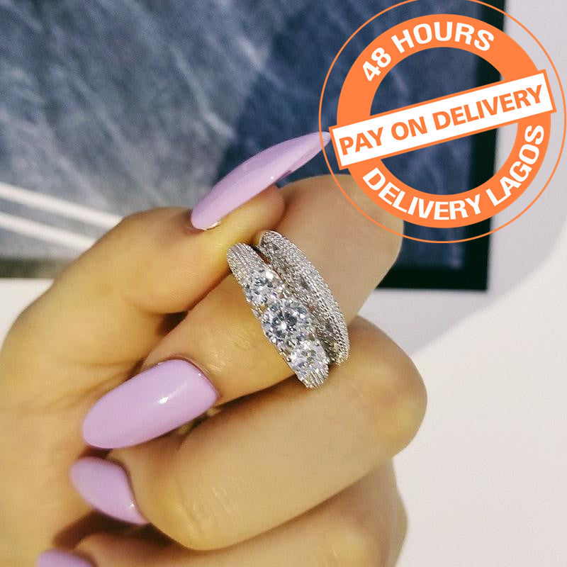 925 Sterling Silver Ring Women 2-Pcs Wedding Engaegemnt Art Ring Set R1815SBuy mate