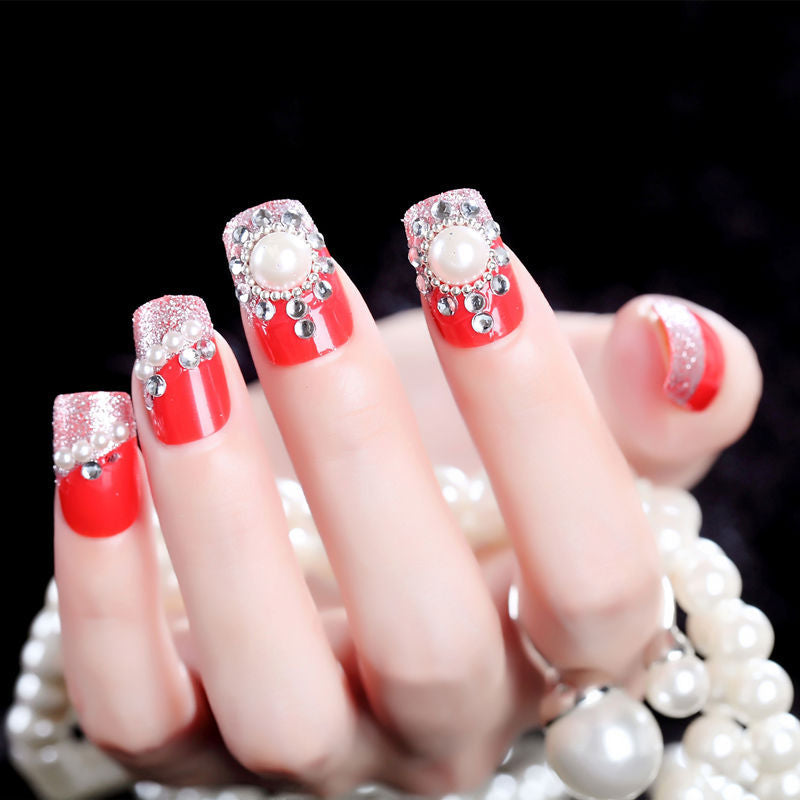 Bride's Red Jewelry Back Rubber Finished Artificial Nail P3382Buy mate