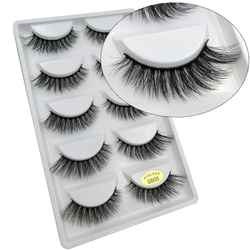 Mink Hair false Eyelashes 5 pairs fitted with natural dense eyelashes p3968