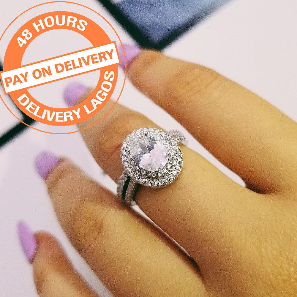 Fashion 925 Sterling Silver Oval Rings For Women Wedding R4410s