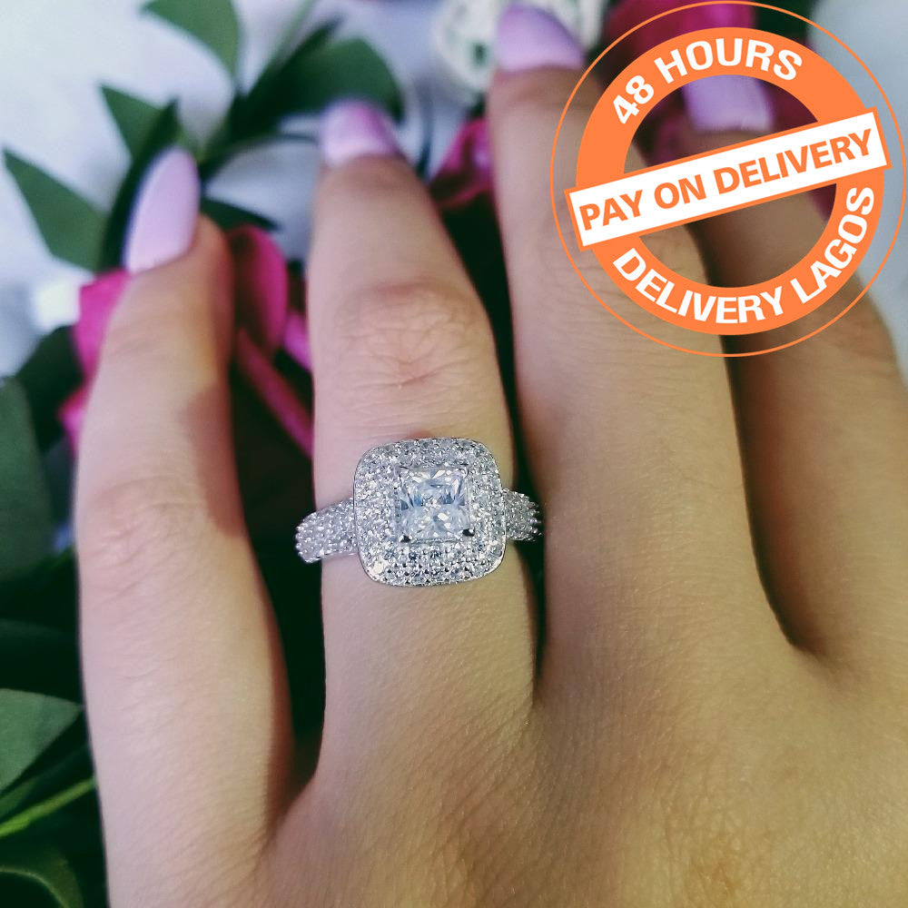 925 Sterling Silver princess cut Engagement Wedding ring luxury for finger bridal Women jewelry R3400CSBuy mate