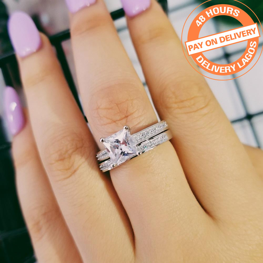 925 Rings 1.5 Carat Princess Cut Ring for Women Wedding Engagement Ring Set Wholesale R1944SBuy mate