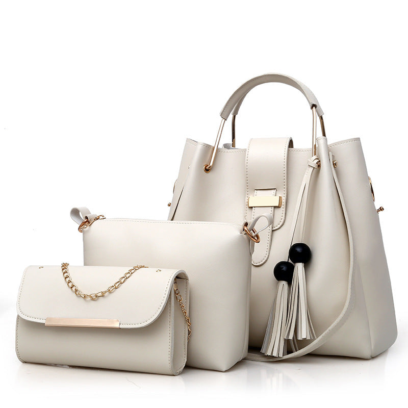 New Kind of Women's Bag Pure-color Fashion Pearl tassels Mother Bag Three-piece Handbag Shoulder Bag p5032whiteBuy mate