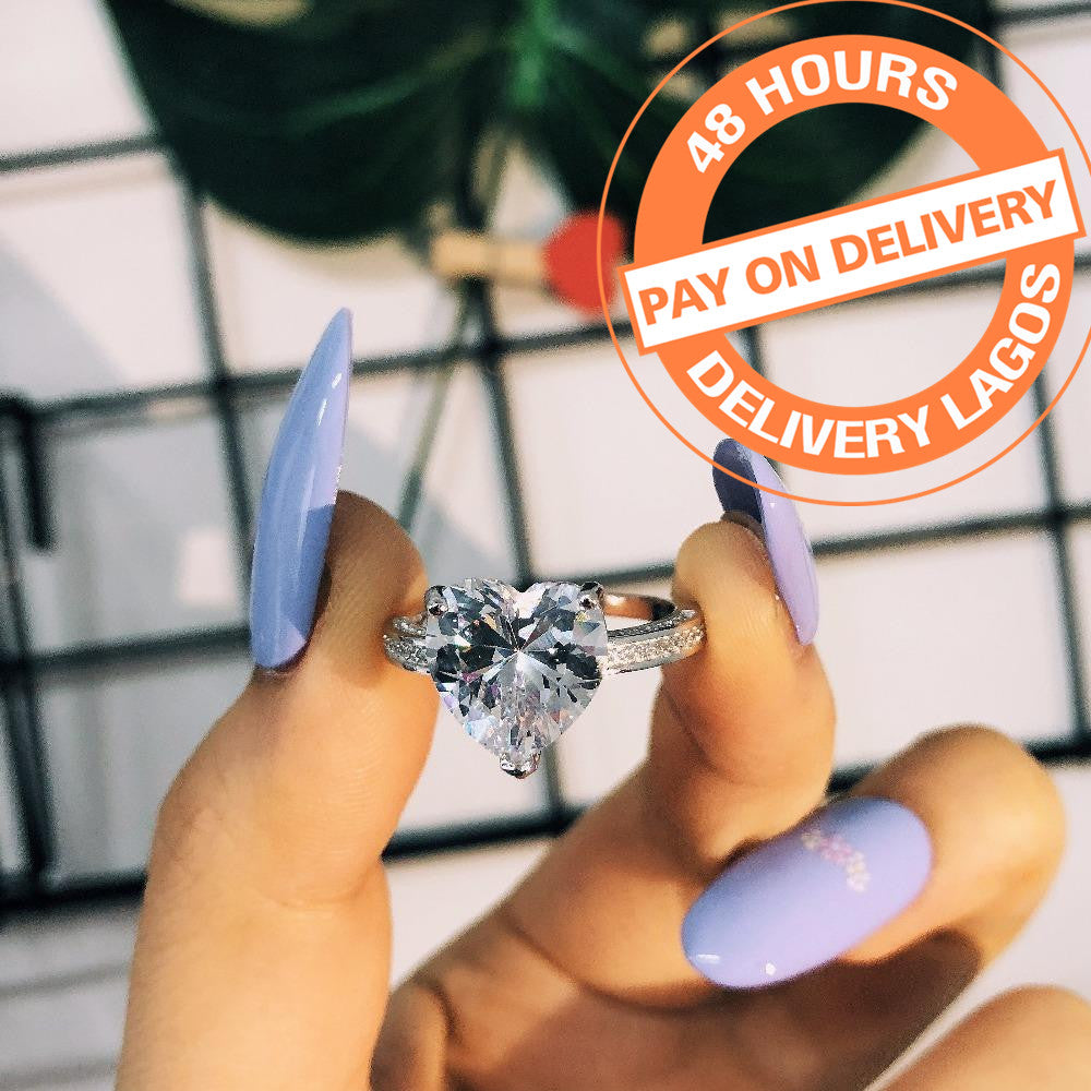 2018 fashion 925 sterling silver AAA zirconia Women Wedding Engagement Heart Shape Rings Jewelry R4325SBuy mate