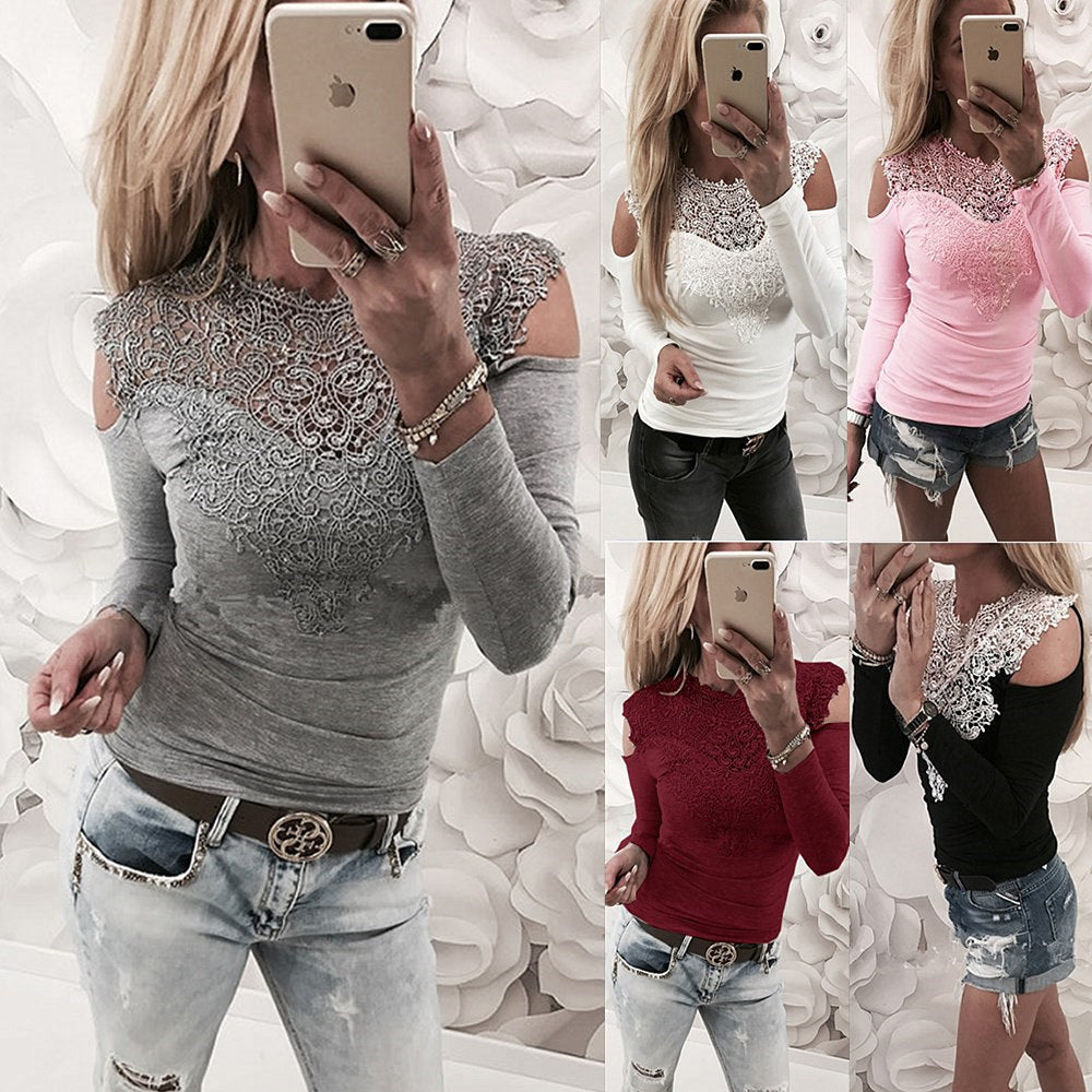 New sexy lace stitching shoulder t-shirt top P4027Buy mate