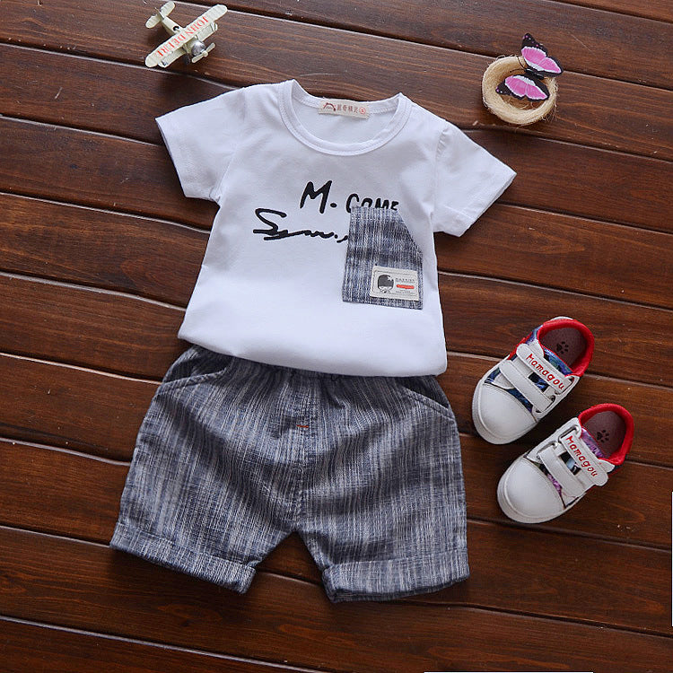 Baby clothes Summer 0-1-2-3 years old semi-cotton set male baby short sleeve T-shirt two piece set p4091