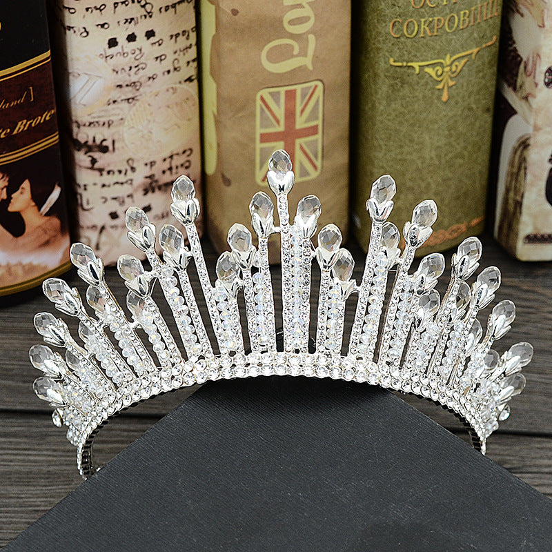 accessories water droplets large crown crystal hair band headgear