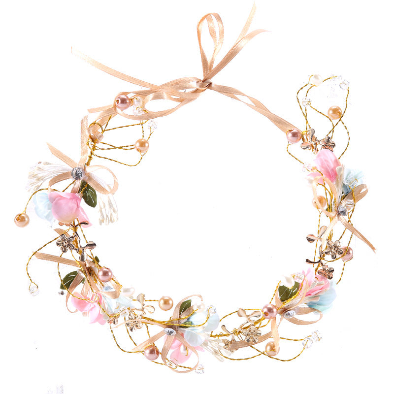 Handmade bow flower headdress bride wreath hairband p3014