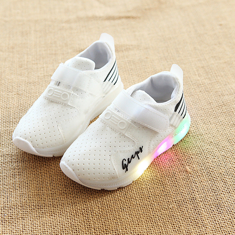 Fall 2018 boys sports shoes casual shoes light net cloth baby/breathable LED flash female children's shoes p5024Buy mate