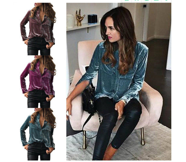 Spring and Autumn Velvet Long Sleeved Collar Women's Shirt P4043Buy mate