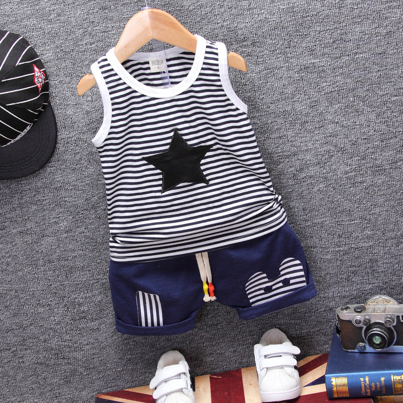 Summer Baby striped five-star vest shorts two children's set p4097