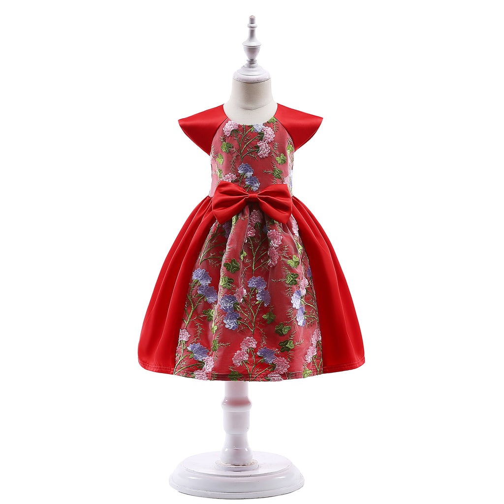 Children's Spring and Summer Dresses Pink Children's Dresses Characteristic Lace Embroidery Children 2366Red / 150CMBuy mate