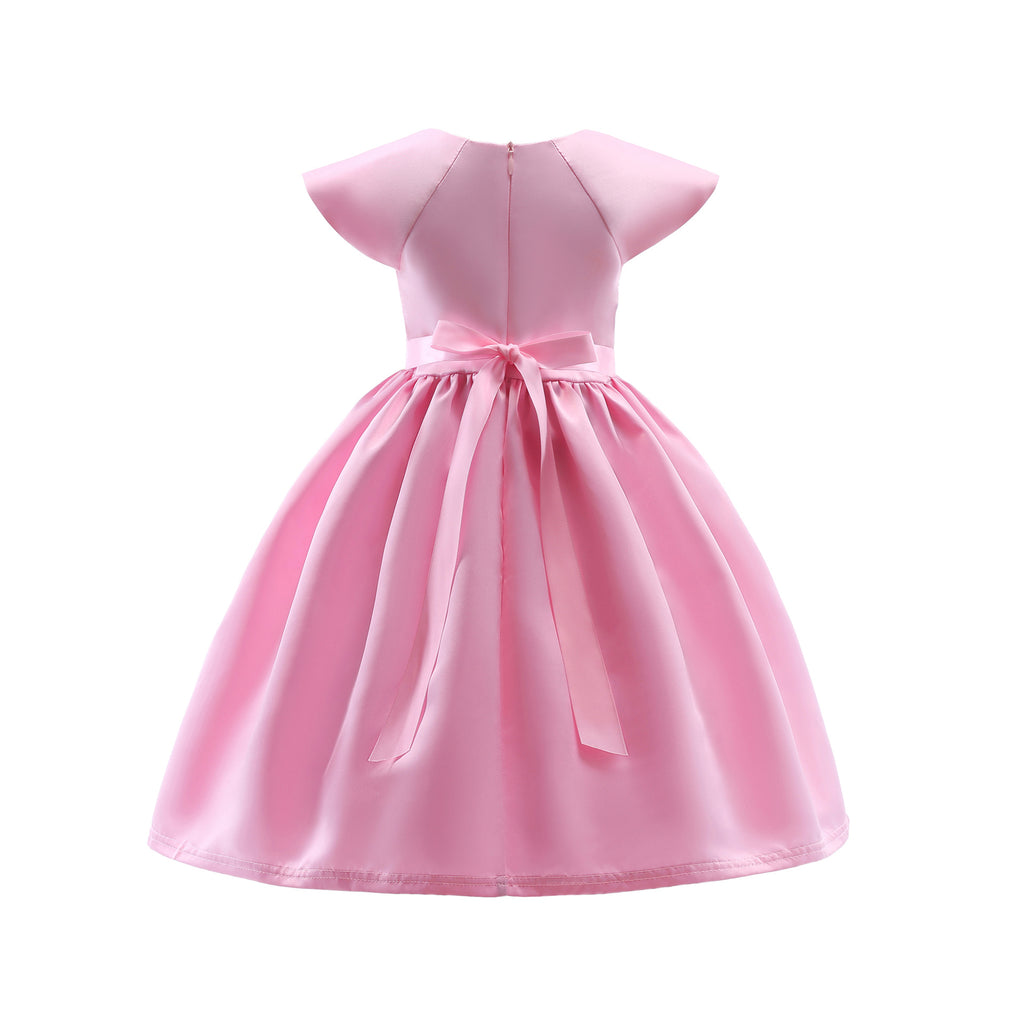 Children's Spring and Summer Dresses Pink Children's Dresses Characteristic Lace Embroidery Children 2366Buy mate