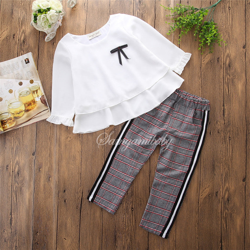 Girl's Long Sleeve White Shirt, Top, Leisure Trousers p4100
