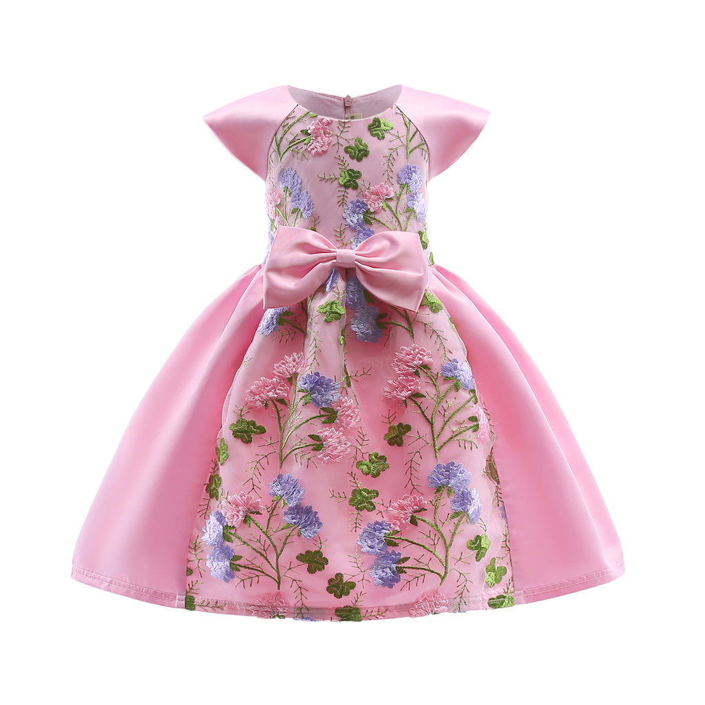 Children's Spring and Summer Dresses Pink Children's Dresses Characteristic Lace Embroidery Children 2366Pink / 150CMBuy mate
