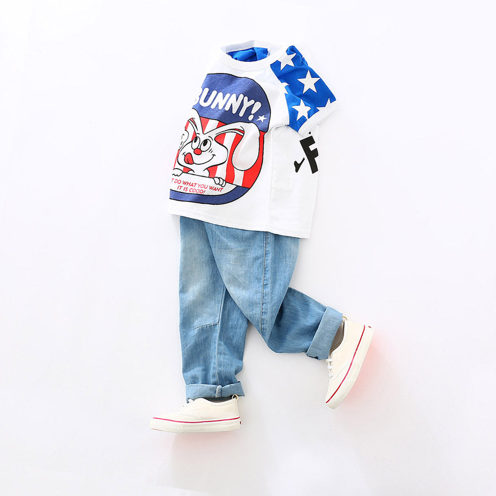 Boys soft thin jeans silk trousers spring and autumn Korean version of baby mosquito prevention pants p2001Buy mate