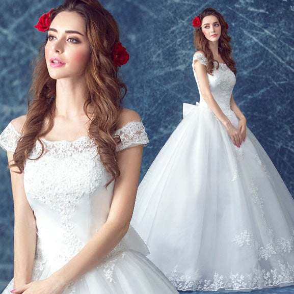The new bride a word shoulder in Europe and the contracted neat, white wedding dress P3367Buy mate