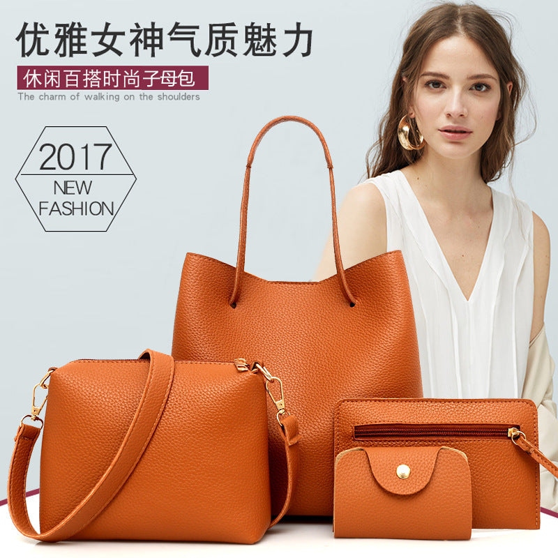 The new fashion female package Four female bag handbag more woolly bucket bag p5046